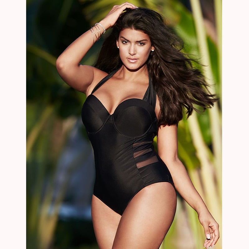 2018 Sexy Black Halter Cut Out Bandage Women One Piece Swimsuit Large Size Female Swimsuit Plus Fertilizer Women Big Breast Bust - Hothits