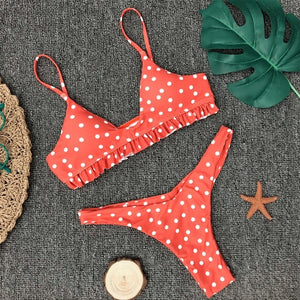 2019 Bikinis Women Swimwear Bathing Suit Dot Print Sexy Ruffle Bikini Sexy Small Chest Triangle Swimsuit Maillot De Bain Femme - Hothits