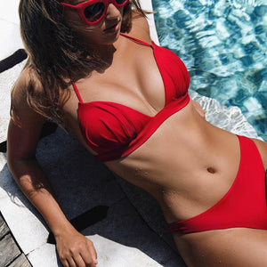 2019 Sexy Bikini Push Up Swimsuit Swimwear Women Brazilian Swimming for Halter Solid Brazilian Bikinis Set Thong Bathing Suit - Hothits