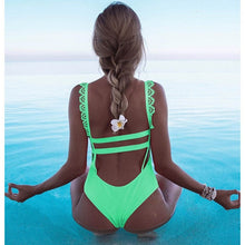 Load image into Gallery viewer, 2019 Sexy Off Shoulder Swimwear Women Swimsuit Print Solid One Piece Swimsuit Ruffle Bathing Suit Beach Backless Monokini Swim - Hothits