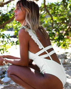2019 Sexy Off Shoulder Swimwear Women Swimsuit Print Solid One Piece Swimsuit Ruffle Bathing Suit Beach Backless Monokini Swim - Hothits