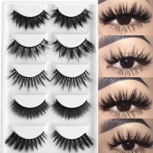 5 Pairs Multipack 3D Soft Mink Hair False Eyelashes Handmade Wispy Fluffy Long Lashes Natural Eye Makeup Tools Faux Eye Lashes - Hothits