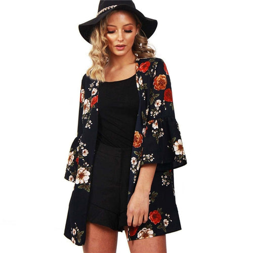 Chiffon Blouses 2019 Fashion Women Tops and Blouses Open Front Floral Print Blouse Shirt Casual Loose Tops Tees Blusas Femininas