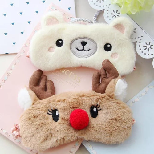 Cute Animal Sleep Eye Mask Plush Eye Cover Kids Sleeping Mask Winter Cartoon Travel Rest Eye band Blindfolds Sleep Aid Eyepatch - Hothits