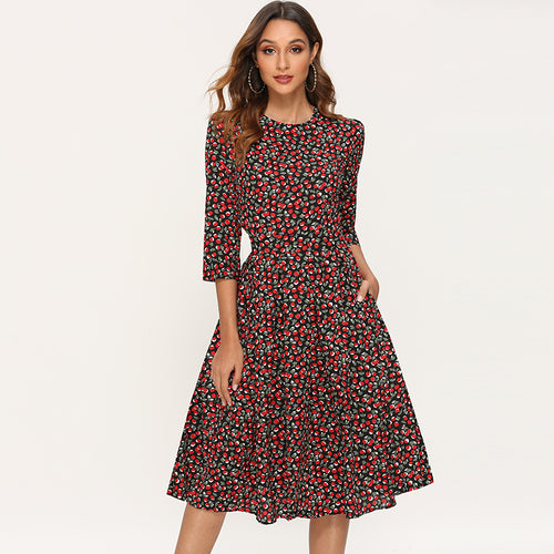 Elegant Dresses Women 2019 Vintage Floral Print A Line Party Dress Autumn Three Quarter Sleeve O-neck Midi Dress Robe Femme