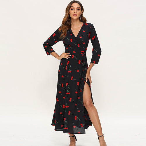 Elegant Dresses Women Three Quarter Sleeve Cherry Print Long Dress Boho High Split V Neck Sexy Casual Maxi Dress Vestidos Largos
