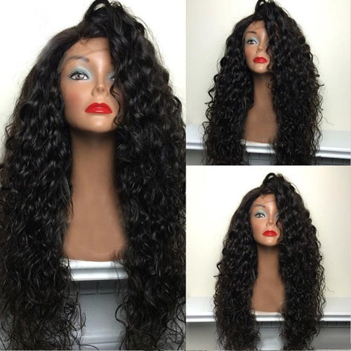 Beauty 180% Density Synthetic Lace Wigs Heat Resistant Hair Long Curly Synthetic Wigs for Black Women Side Part - Hothits