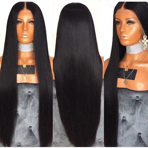 Beauty 26 Inches Long Straight Hair 13x6 Lace Front Wig Natural Hairline Heat Resistant Synthetic Wigs for Black Women - Hothits