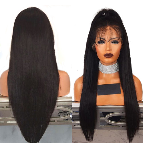 Beauty 28 Inches Lace Front Synthetic Wigs Long Straight Heat Resistant Hair Pre Plucked Wig with Natural Hairline - Hothits