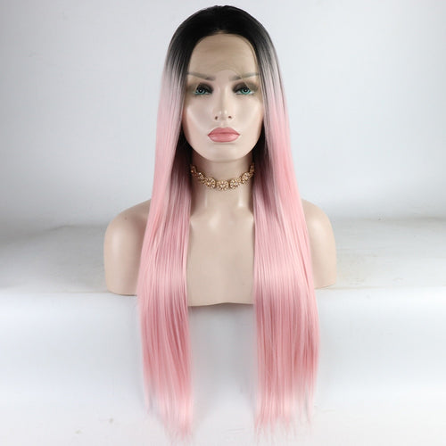 Beauty Ombre Wig 2 Tones Dark Roots Long Straight Synthetic Wigs Middle Part Natural Looking 26