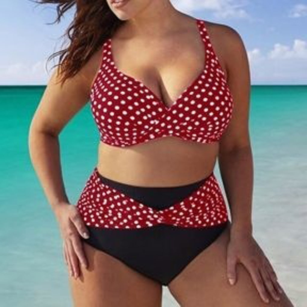 Swimsuit Feminino Bikini Women Waist Piece Plus High One Beachwear Wave Large Swimwear 2019 Point Size Biquinis 4 EIeDYW2bH9