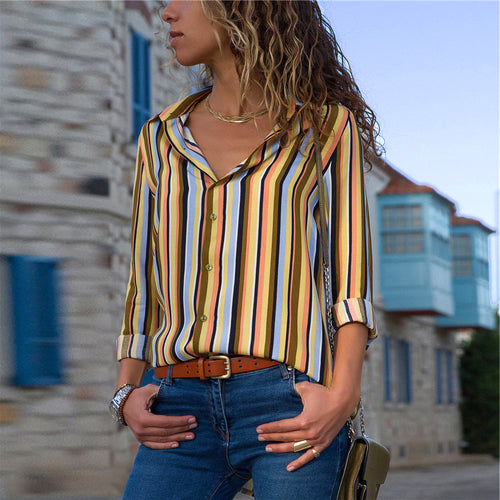Striped Blouse Women Long Sleeve Turn Down Collar Office Shirt Summer Chiffon Blouse Casual Tops Blusas Mujer Camisas Plus Size