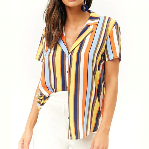Striped Blouse Women Summer Short Sleeve Chiffon Blouse Turn Down Collar Lady Office Shirt Casual Loose Tops Tunic Plus Size