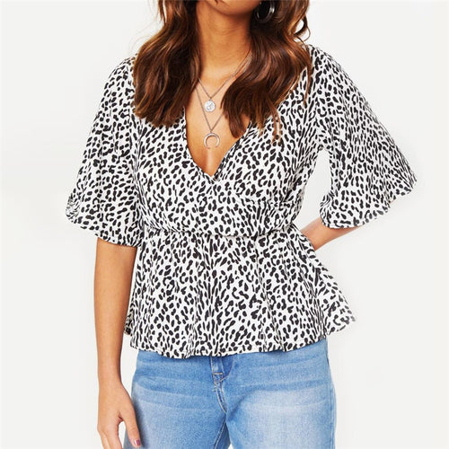 Summer Chiffon Blouses Sexy Deep V-neck Short Flare Sleeve Leopard Blouse Shirt Women Casual Tops Plus Size Chemisier Femme