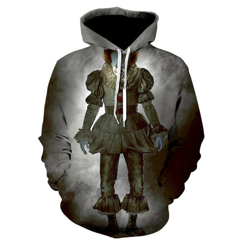 Terror movie IT clown 3D printed hoodie Freddy Jason film men's jacket leisure streetwear Halloween hip hop cool hoodies 2019