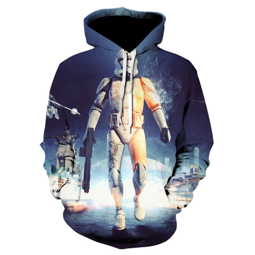 The latest casual high quality design Star Wars movie 3D printing hooded hoodies fashion casual hoodies men's long sleeve jacket
