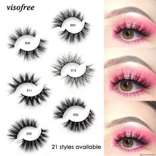 Load image into Gallery viewer, Visofree Mink Lashes 3D Mink Eyelashes 100% Cruelty free Lashes Handmade Reusable Natural Eyelashes Popular False Lashes Makeup
