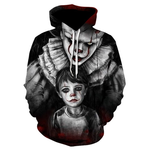 Winter New American Horror Movie IT Clown 3D Hoodie High Quality Design Funny Casual Sweatshirt Clown Pattern hoodies Tops