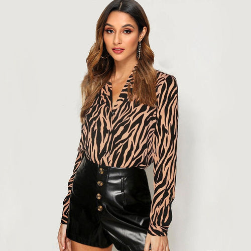 Women Blouses Long Sleeve Turn Down Collar Chiffon Blouse Fashion Zebra Print Office Shirt Casual Tops Plus Size Chemisier femme