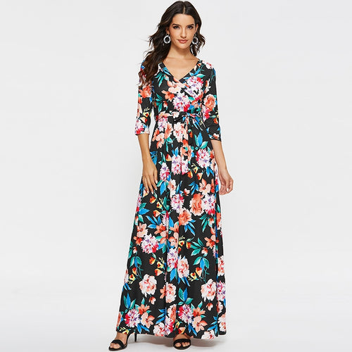 Women Elegant Long Dress 2019 Sexy V Neck Printed Boho Styles Dresses Half Sleeve Caual Maxi Sashes Dress Plus Size Vestidos