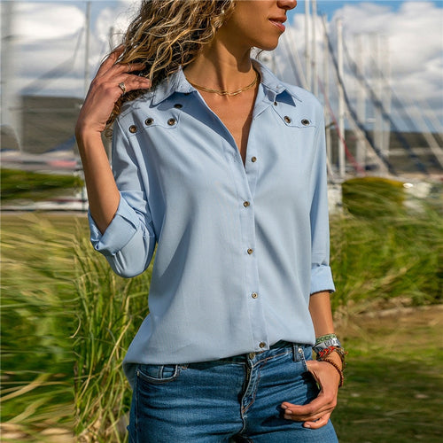 Women Tops Blouses 2019 Spring Elegant Pure Long Sleeve Blouse Shirt Turn Down Collar Chiffon Blouse Office Shirts Blusas Camisa