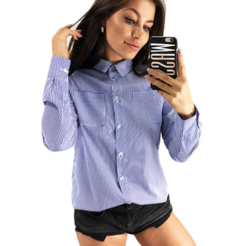 Womens Tops And Blouses Striped Long Sleeve Shirt Women Turn Down Collar Office Shirt Casual Chiffon Blouse Ladies Tunic Tops
