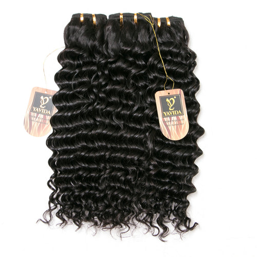Virgin Deep Wave 1/3/4 Bundles Deal Peruvian Hair Bundles non-Remy Human Hair Bundles Extension