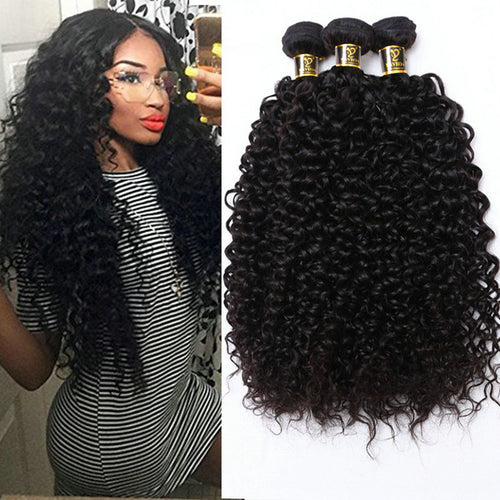 Virgin Malaysian Hair Kinky Curly Extensions Human Hair Weaving Bundles Natural Color 1/3/4pc 100g Non-Remy Curly Hair Bundles