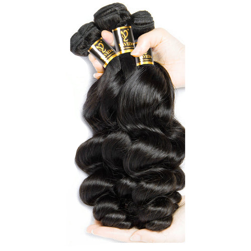 Virgin Peruvian Hair Bundles Loose Wave Human Hair Extensions Non-Remy Hair 3 Bundles & 1 Piece Hair Natural Color