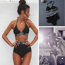 Load image into Gallery viewer, Zingiber lettering high waist elastic bikini soft removable bra pad swimwear balck bandage print letter sexy swimsuit bodysuit