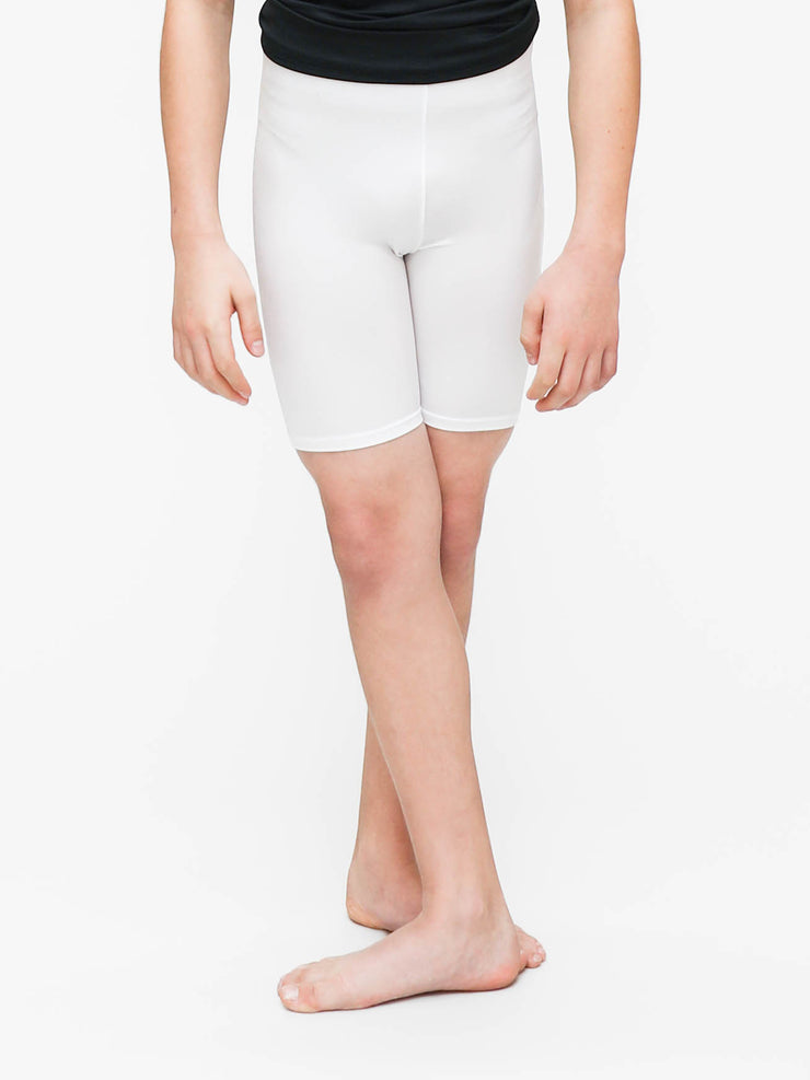 Boys' White Tricot dance shorts to dye for ballet or jazz by boysdancetoo the dance store for men