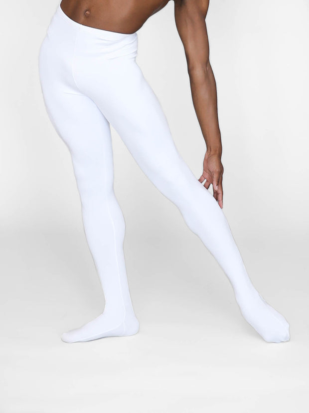 Opaque white dance tights for men by boysdancetoo the dance store for men