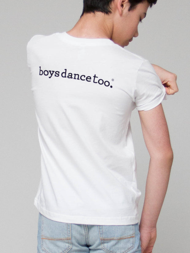 Tyler Diggs is now a Joffrey Ballet Trainee in Chicago, he models a boysdancetoo statement tee with boysdancetoo print
