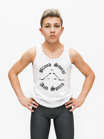 boysdancetoo model Jason Shuman goes to The Rock School and is wearing boysdancetoo's boys' dance tank top with Blood Sweat and Splits Print