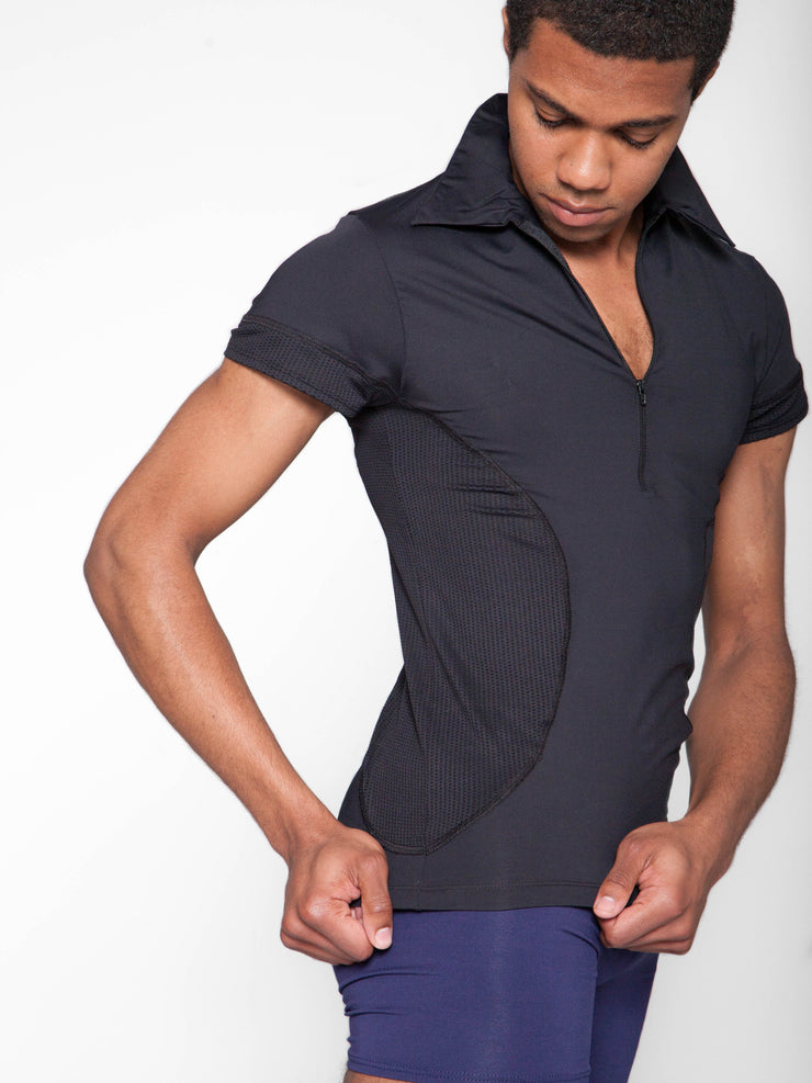 Zip Front Collared Tee with Mesh Insert - MENS