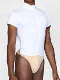 Zip Front Short Sleeved Leo with Built-in Thong Dance Belt - MENS