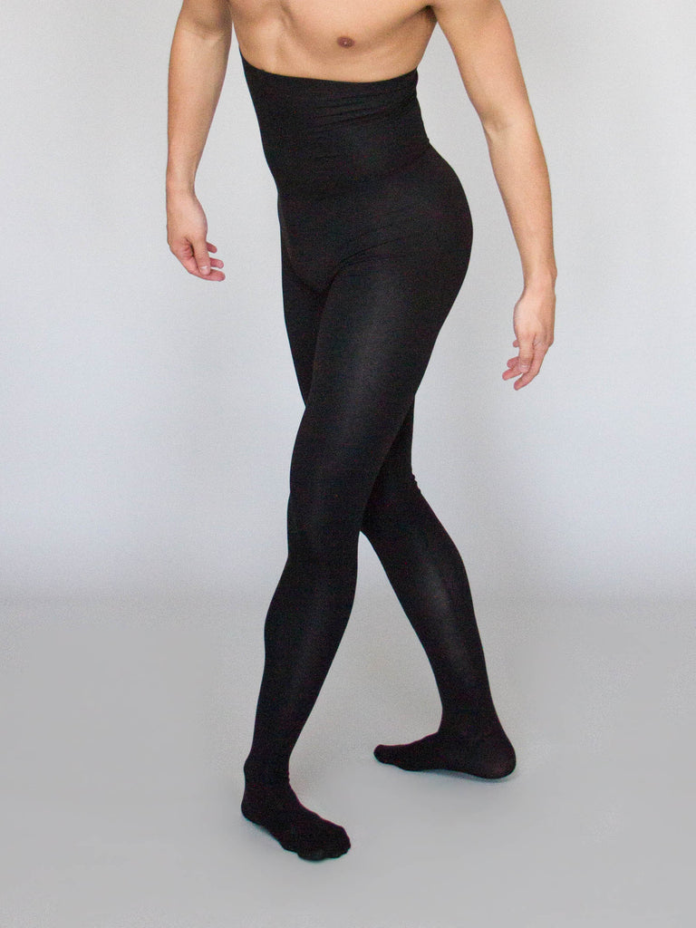 Cotton Blend Footed Tights for Male Dancers by Wearmoi at boysdancetoo the dance store for men, modeled by Barton Cowperthwaite