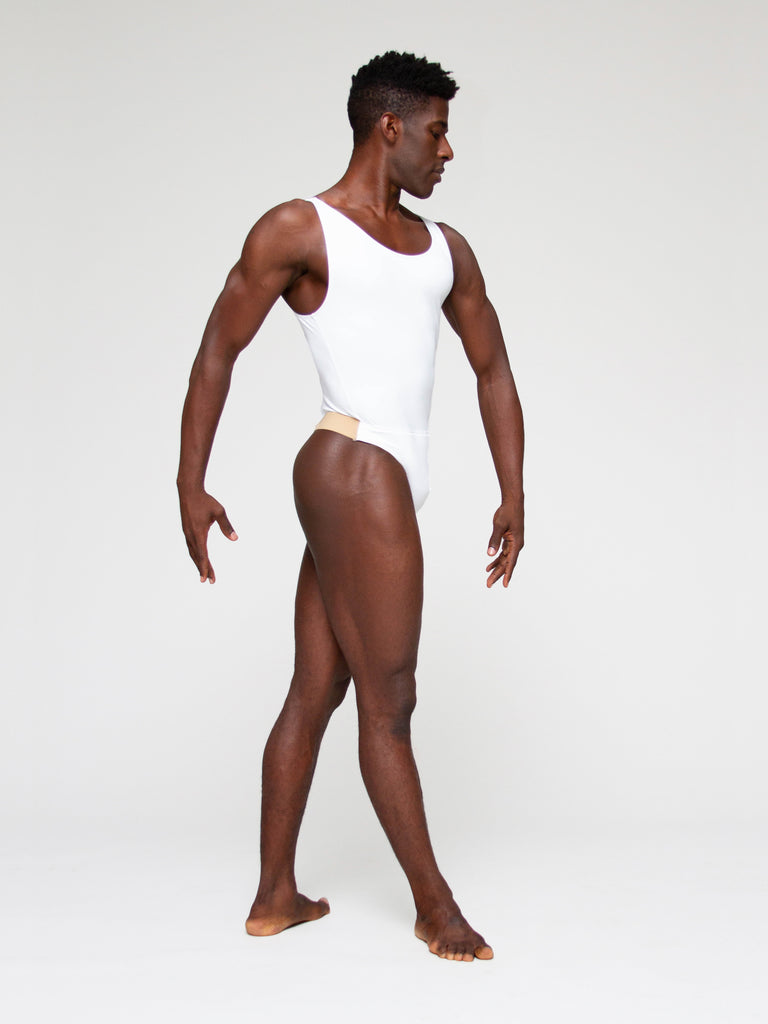 Microfiber Tank Leotard with Built in Thong Dance Belt - MENS