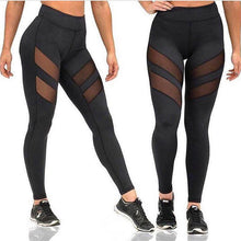 Load image into Gallery viewer, Ladies Mesh High Waist Workout Leggings Fitness