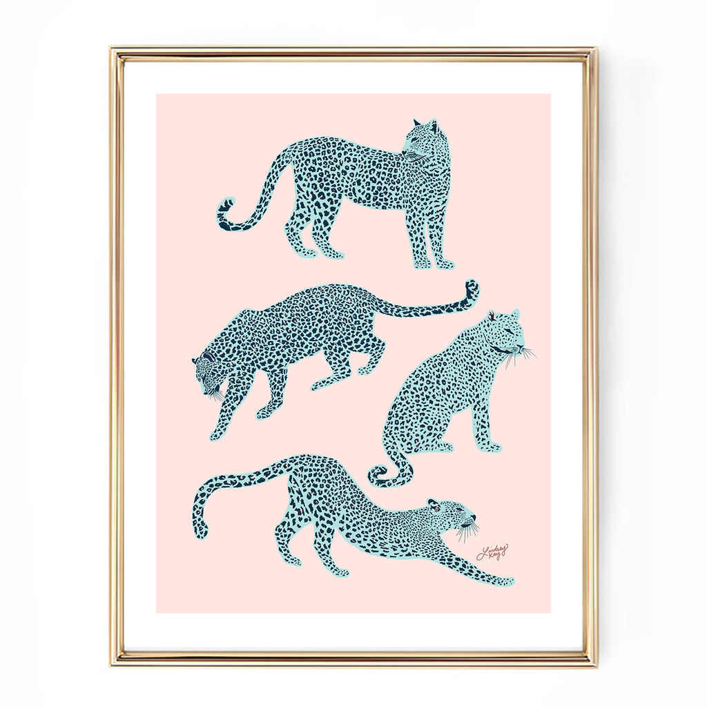 pink blue leopards illustration art print home decor lindsey kay collective