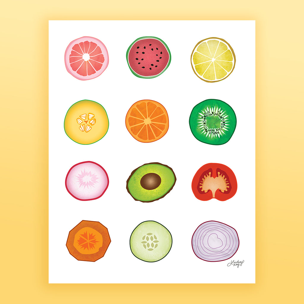 Fruits and Vegetables Collage - Art Print - Lindsey Kay Collective