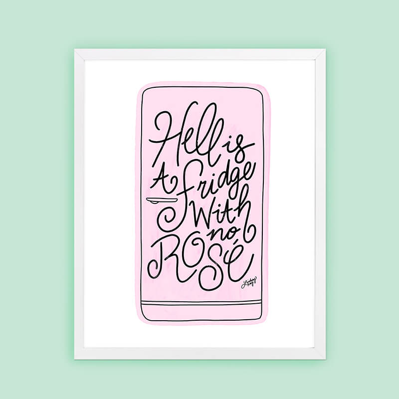 Hell is a Fridge with No Rosé Illustration (Pink/Black Palette) - Art Print