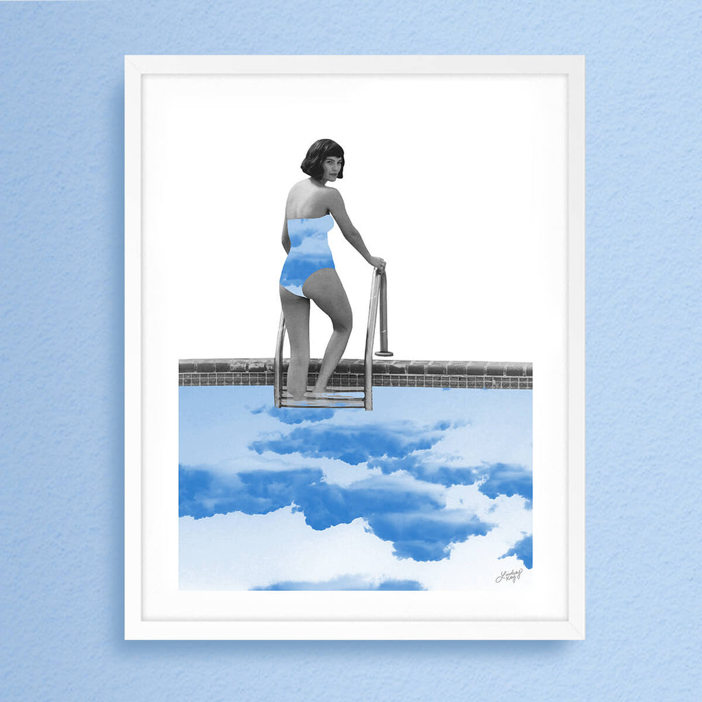 abstract collage art print of a lady swimming in the clouds