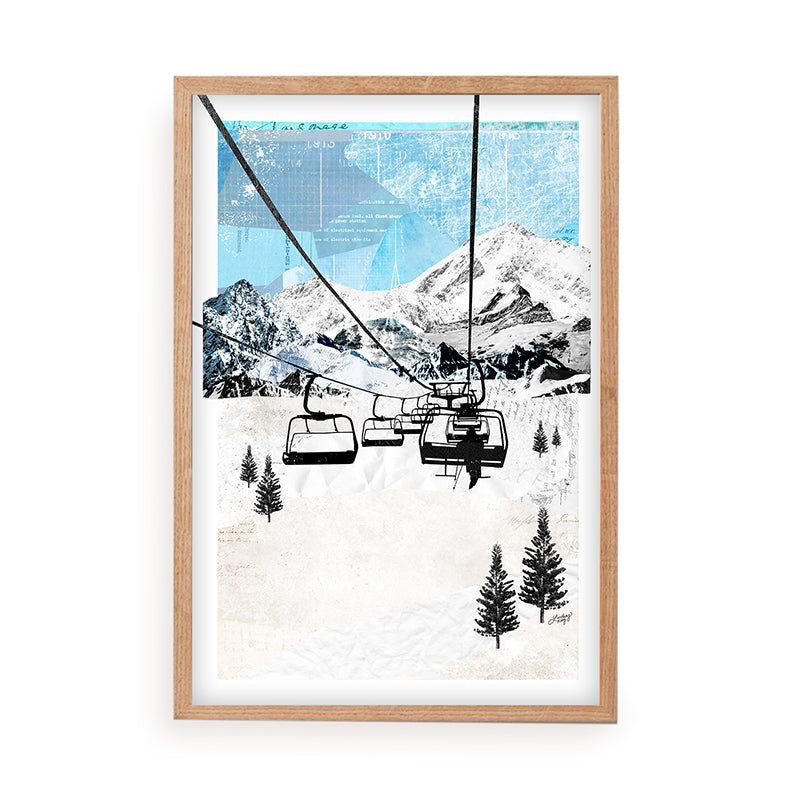 Mountain Chair Lift Landscape - Collage Art Print - Lindsey Kay Collective