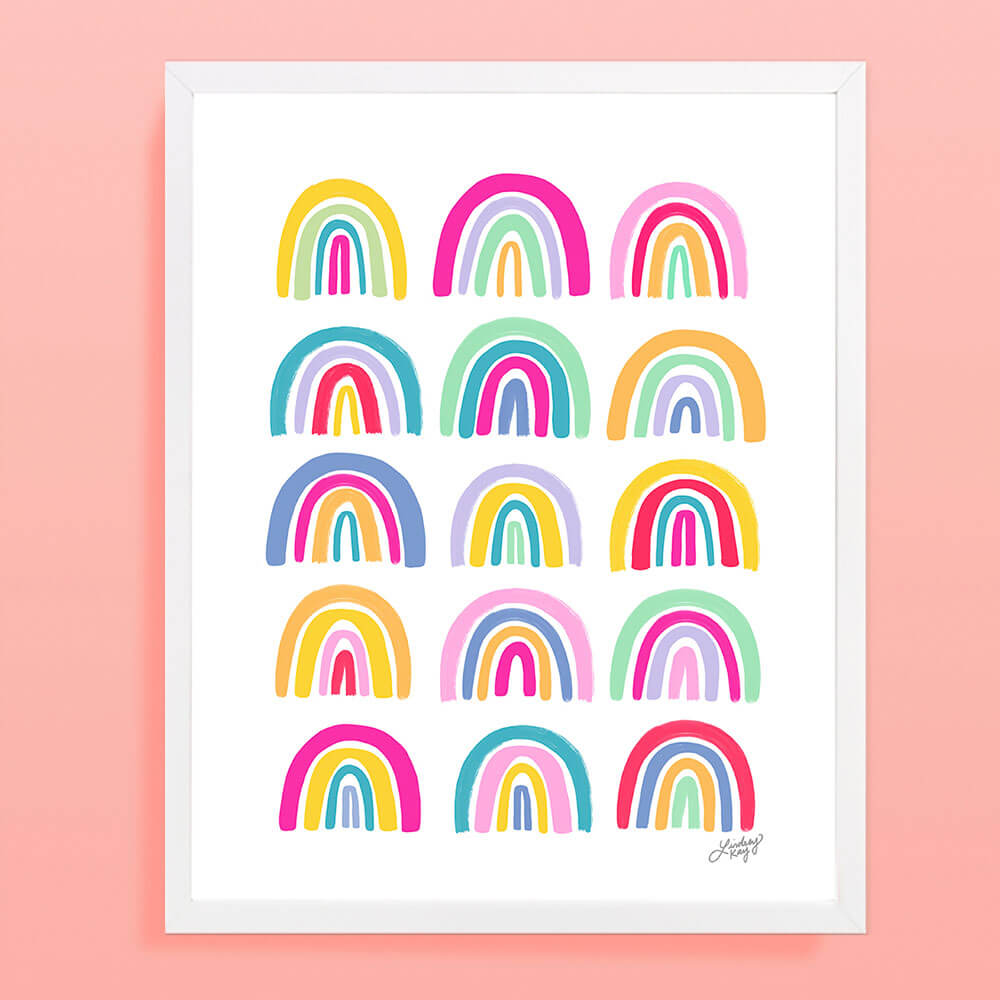 rainbows, illustration, painting, colorful art print, art print, wall art, lindsey kay co