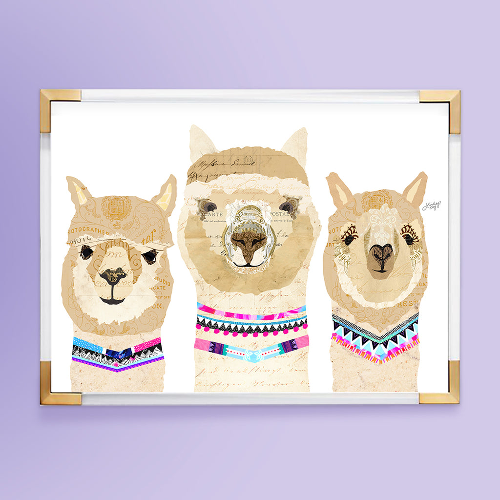 Three Alpacas Collage - Art Print - Lindsey Kay Collective