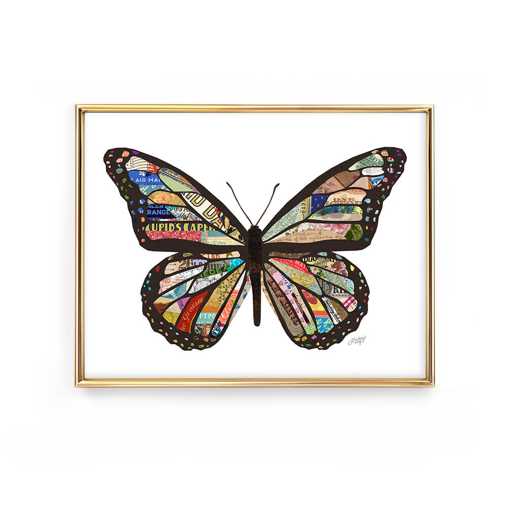 butterfly colorful collage illustration art print lindsey kay collective