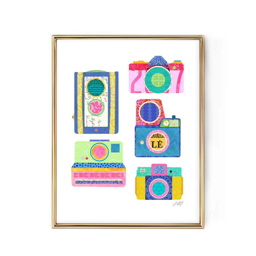colorful bright vintage camera polaroid collage art print poster