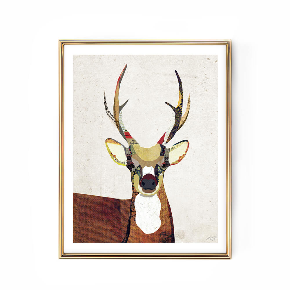 deer collage illustration art print woodland nursery cabin decor wall art