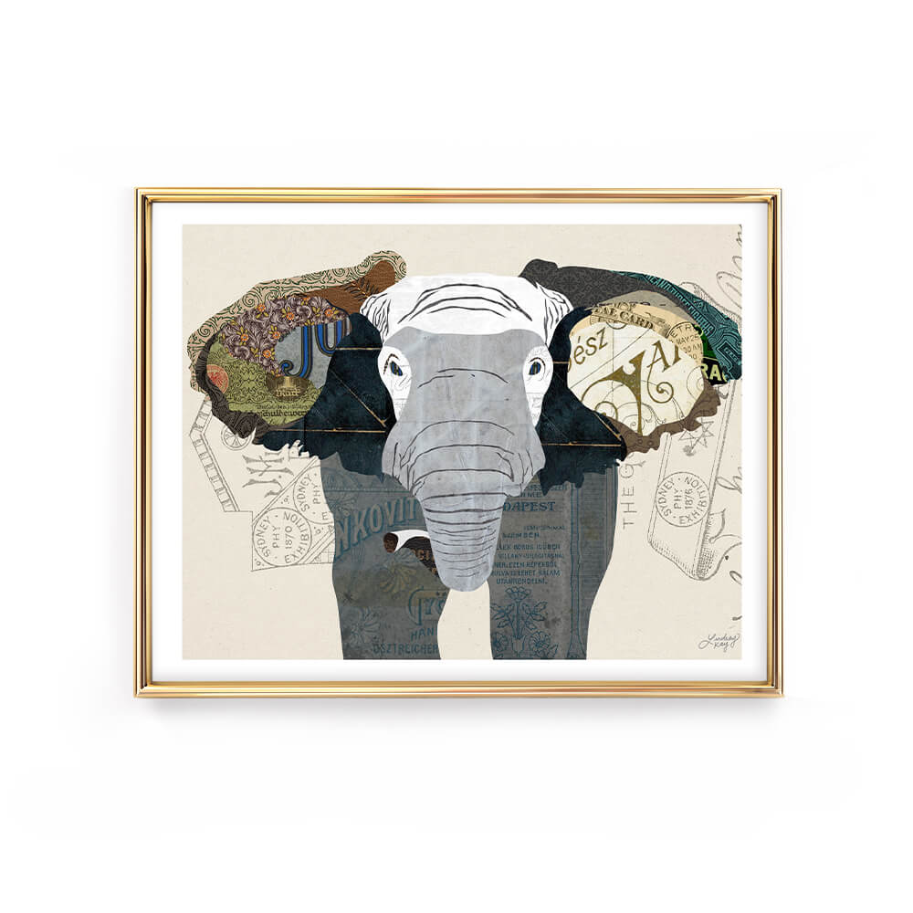 elephant animal collage illustration art print poster